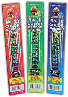 color sparklers no 10 bamboo stick